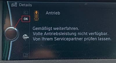 BMW Bordsystem: Fehlermeldungen bei Problemen mit der Steuerkette, älteres Display